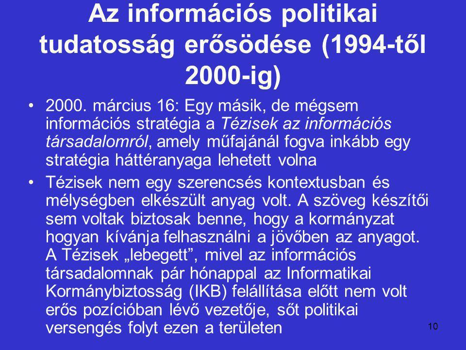10 Az információs politikai tudatosság erősödése (1994-től 2000-ig) 2000. március 16: Egy másik, de mégsem információs stratégia a Tézisek az informác