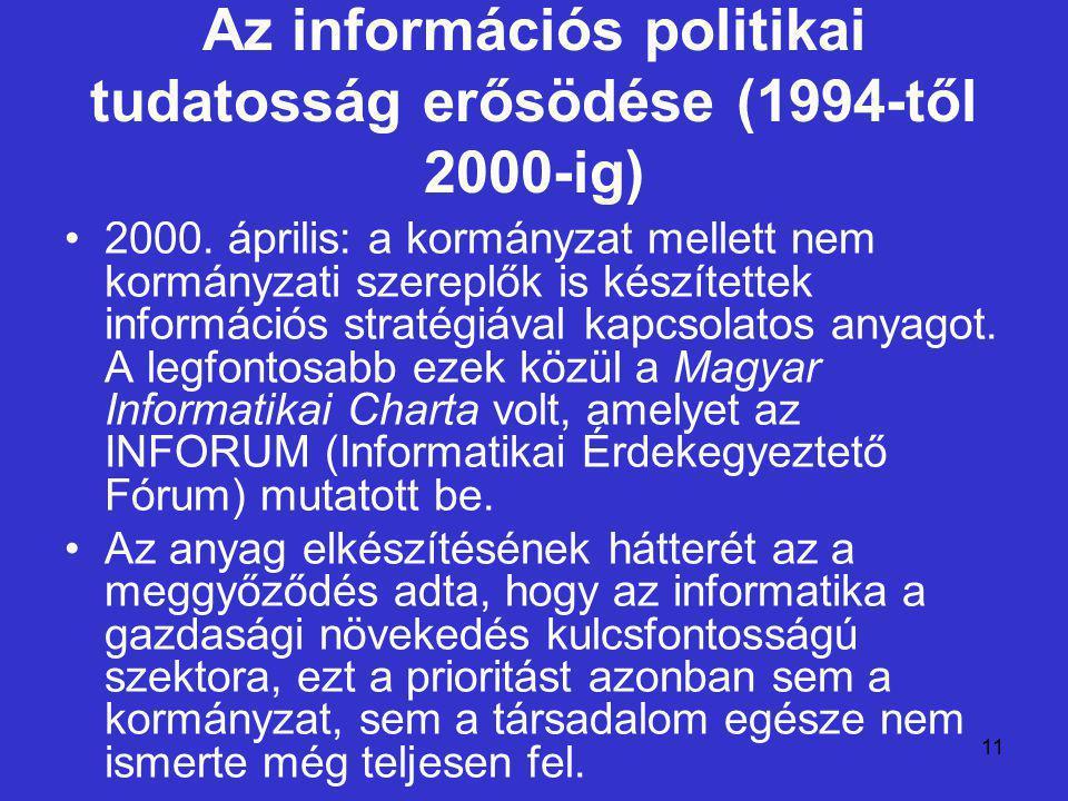 11 Az információs politikai tudatosság erősödése (1994-től 2000-ig) 2000. április: a kormányzat mellett nem kormányzati szereplők is készítettek infor