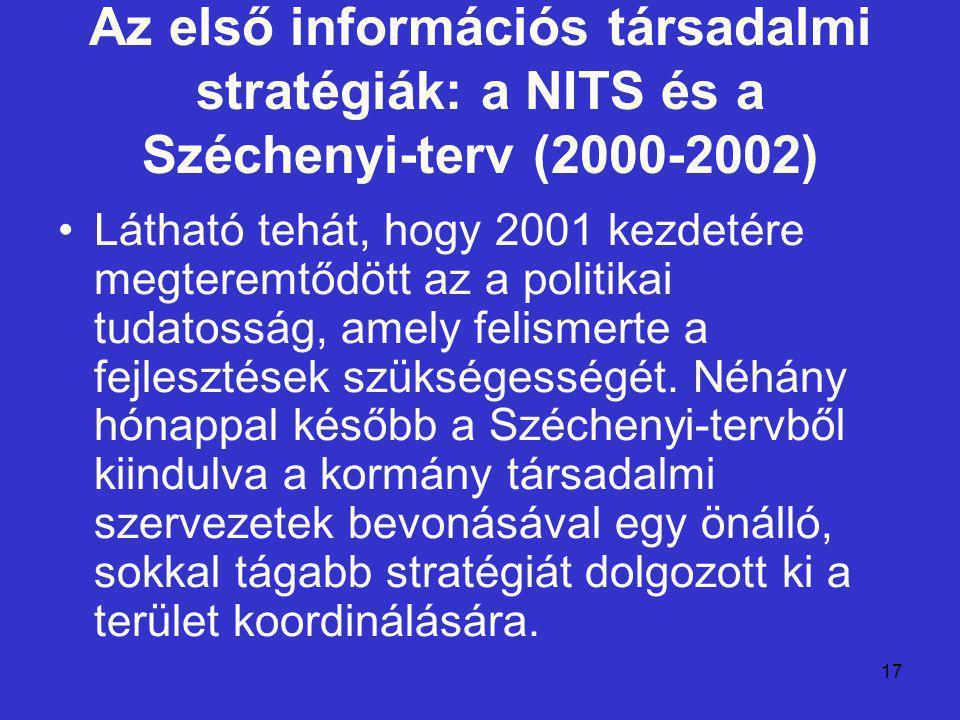 17 Az első információs társadalmi stratégiák: a NITS és a Széchenyi-terv (2000-2002) Látható tehát, hogy 2001 kezdetére megteremtődött az a politikai