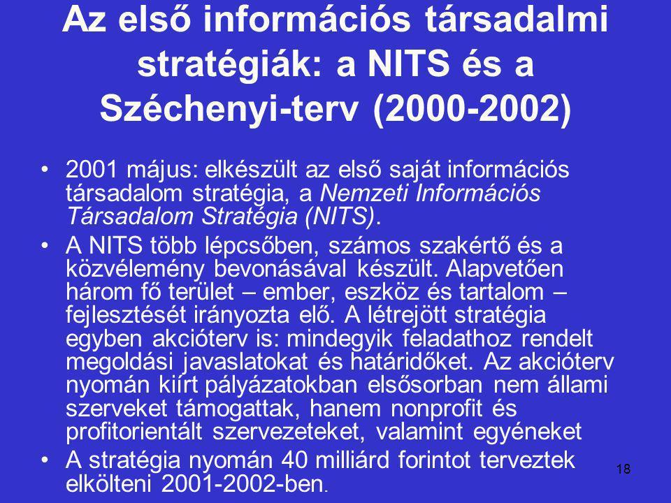 18 Az első információs társadalmi stratégiák: a NITS és a Széchenyi-terv (2000-2002) 2001 május: elkészült az első saját információs társadalom straté
