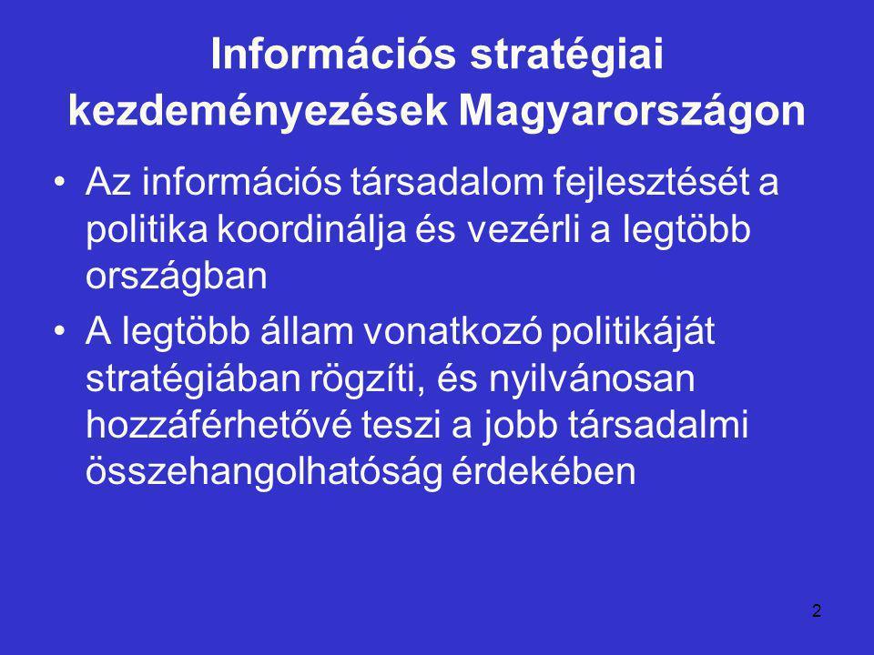 3 Információs stratégiai kezdeményezések Magyarországon A magyar fejlődés a közép-európai fejlődés sajátosságait tükrözi: a megkésettséget, a nyugati minták másolását, az alacsony tudatosságot, a rossz hatásfokú intézményi struktúrát és a félreértelmezett információs politikát Ami Magyarországot egyedivé teszi: politikai kultúrájánál fogva rabja egy folyamatosan újratermelődő deficites állapotnak, ami az elszabotált stratégiák országává teszi hazánkat, következménye az elszalasztott lehetőségekben és egy évtized múltán a tartós leszakadásban ölt testet