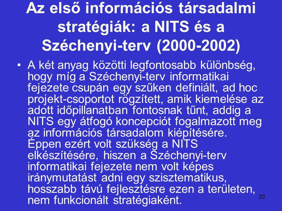 20 Az első információs társadalmi stratégiák: a NITS és a Széchenyi-terv (2000-2002) A két anyag közötti legfontosabb különbség, hogy míg a Széchenyi-terv informatikai fejezete csupán egy szűken definiált, ad hoc projekt-csoportot rögzített, amik kiemelése az adott időpillanatban fontosnak tűnt, addig a NITS egy átfogó koncepciót fogalmazott meg az információs társadalom kiépítésére.