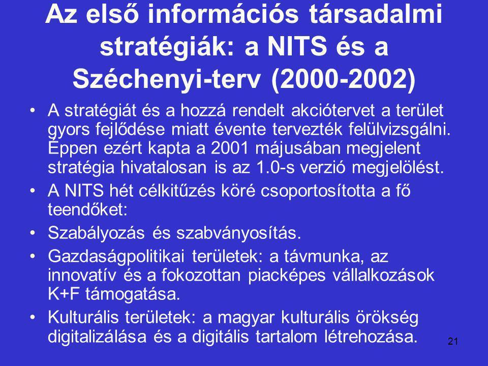 21 Az első információs társadalmi stratégiák: a NITS és a Széchenyi-terv (2000-2002) A stratégiát és a hozzá rendelt akciótervet a terület gyors fejlődése miatt évente tervezték felülvizsgálni.