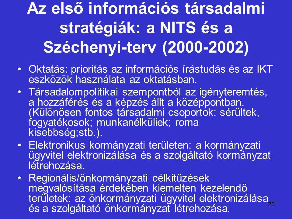 22 Az első információs társadalmi stratégiák: a NITS és a Széchenyi-terv (2000-2002) Oktatás: prioritás az információs írástudás és az IKT eszközök használata az oktatásban.