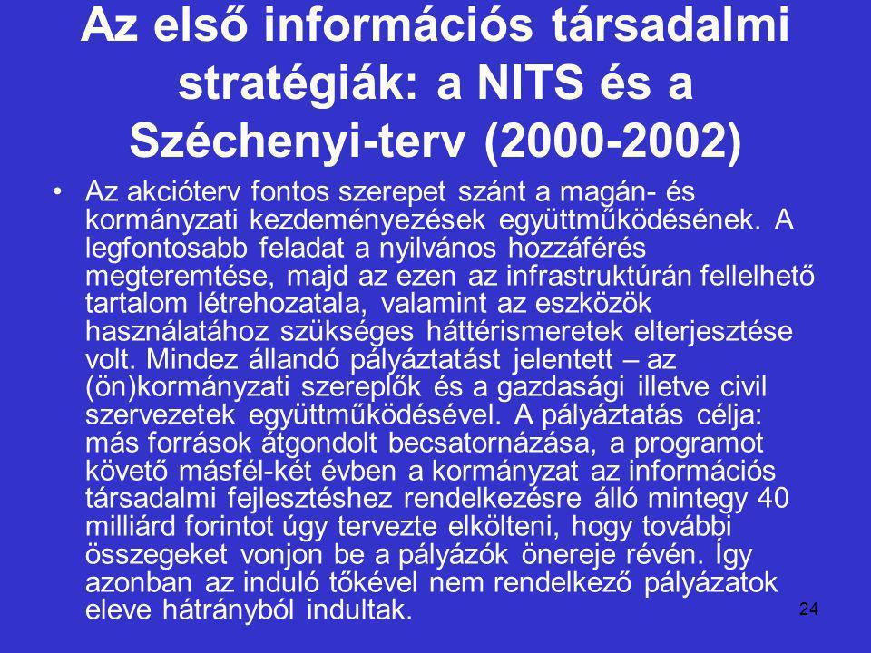 24 Az első információs társadalmi stratégiák: a NITS és a Széchenyi-terv (2000-2002) Az akcióterv fontos szerepet szánt a magán- és kormányzati kezdem