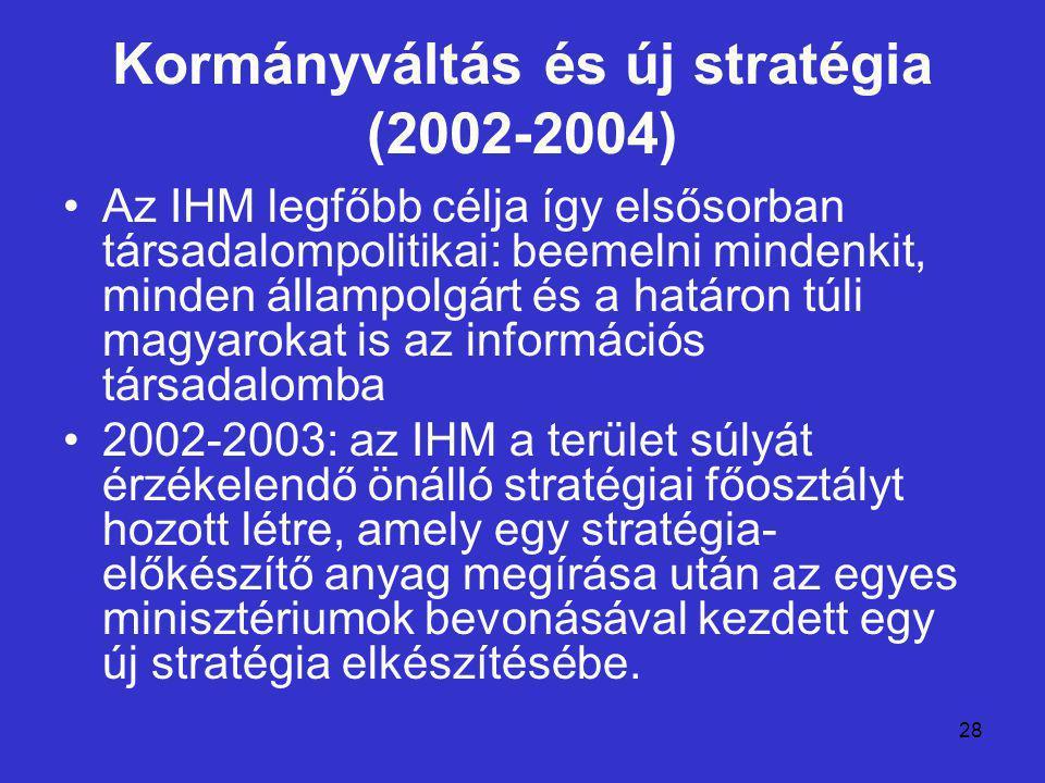 28 Kormányváltás és új stratégia (2002-2004) Az IHM legfőbb célja így elsősorban társadalompolitikai: beemelni mindenkit, minden állampolgárt és a határon túli magyarokat is az információs társadalomba 2002-2003: az IHM a terület súlyát érzékelendő önálló stratégiai főosztályt hozott létre, amely egy stratégia- előkészítő anyag megírása után az egyes minisztériumok bevonásával kezdett egy új stratégia elkészítésébe.
