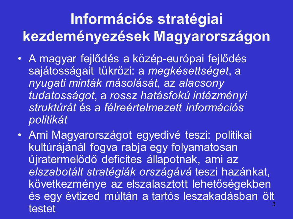 3 Információs stratégiai kezdeményezések Magyarországon A magyar fejlődés a közép-európai fejlődés sajátosságait tükrözi: a megkésettséget, a nyugati