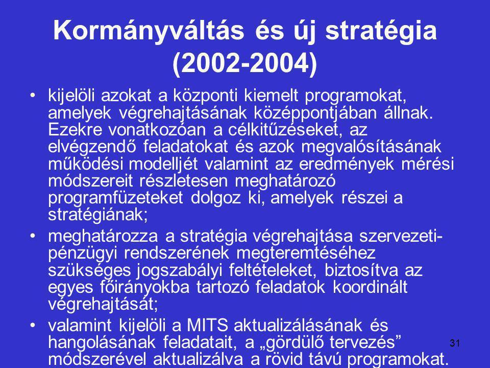31 Kormányváltás és új stratégia (2002-2004) kijelöli azokat a központi kiemelt programokat, amelyek végrehajtásának középpontjában állnak.