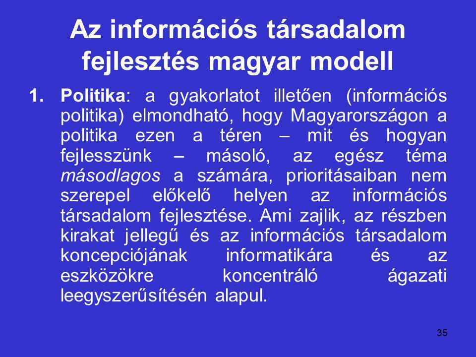 35 Az információs társadalom fejlesztés magyar modell 1.Politika: a gyakorlatot illetően (információs politika) elmondható, hogy Magyarországon a politika ezen a téren – mit és hogyan fejlesszünk – másoló, az egész téma másodlagos a számára, prioritásaiban nem szerepel előkelő helyen az információs társadalom fejlesztése.