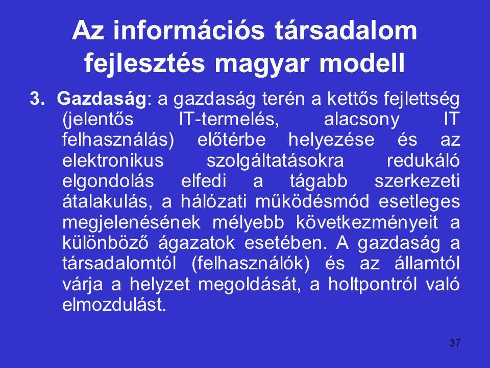 37 Az információs társadalom fejlesztés magyar modell 3. Gazdaság: a gazdaság terén a kettős fejlettség (jelentős IT-termelés, alacsony IT felhasználá