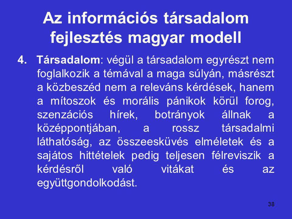 38 Az információs társadalom fejlesztés magyar modell 4.