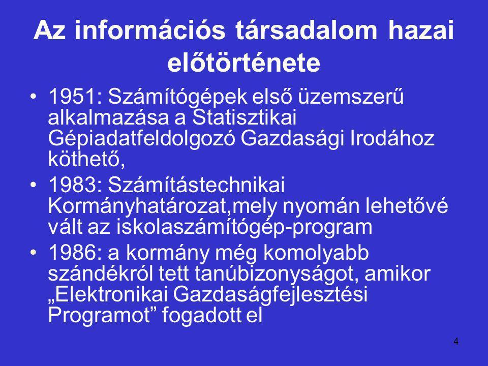 """4 Az információs társadalom hazai előtörténete 1951: Számítógépek első üzemszerű alkalmazása a Statisztikai Gépiadatfeldolgozó Gazdasági Irodához köthető, 1983: Számítástechnikai Kormányhatározat,mely nyomán lehetővé vált az iskolaszámítógép-program 1986: a kormány még komolyabb szándékról tett tanúbizonyságot, amikor """"Elektronikai Gazdaságfejlesztési Programot fogadott el"""