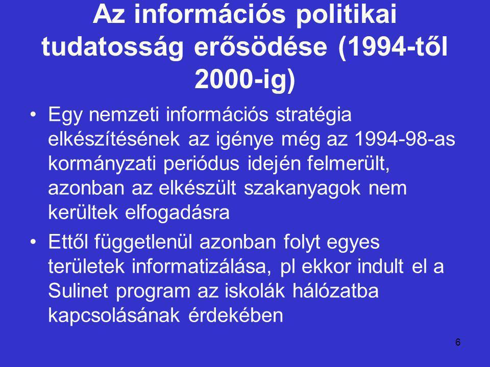 6 Az információs politikai tudatosság erősödése (1994-től 2000-ig) Egy nemzeti információs stratégia elkészítésének az igénye még az 1994-98-as kormányzati periódus idején felmerült, azonban az elkészült szakanyagok nem kerültek elfogadásra Ettől függetlenül azonban folyt egyes területek informatizálása, pl ekkor indult el a Sulinet program az iskolák hálózatba kapcsolásának érdekében