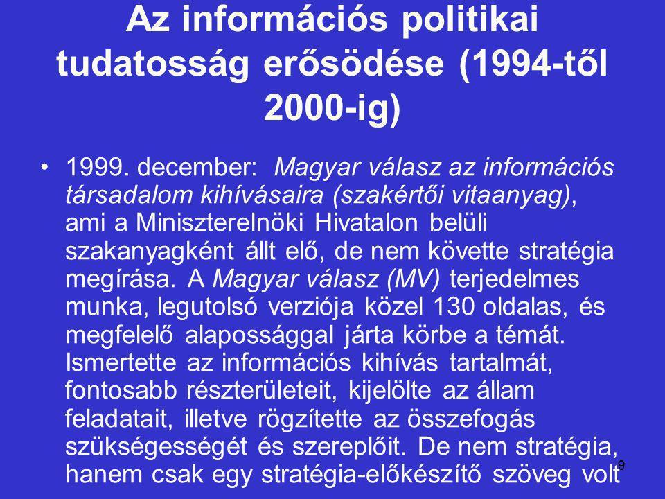 30 Kormányváltás és új stratégia (2002-2004) A Magyar Információs Társadalom Stratégia (MITS) egy viszonylag hosszú, 10-15 éves időtávra jelöli ki a stratégiai célkitűzéseket, ezzel szemben az egyes központi kiemelt programok általában középtávra, a 2004-2006 közötti időszakra szólnak.