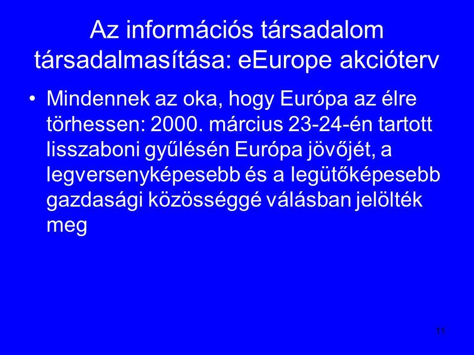 11 Az információs társadalom társadalmasítása: eEurope akcióterv Mindennek az oka, hogy Európa az élre törhessen: 2000. március 23-24-én tartott lissz