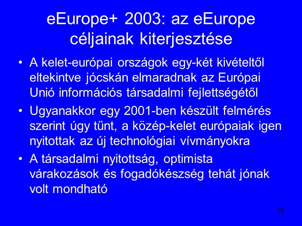 16 eEurope+ 2003: az eEurope céljainak kiterjesztése A kelet-európai országok egy-két kivételtől eltekintve jócskán elmaradnak az Európai Unió informá