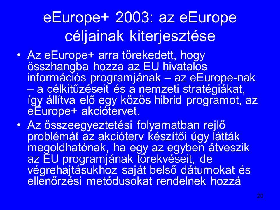20 eEurope+ 2003: az eEurope céljainak kiterjesztése Az eEurope+ arra törekedett, hogy összhangba hozza az EU hivatalos információs programjának – az