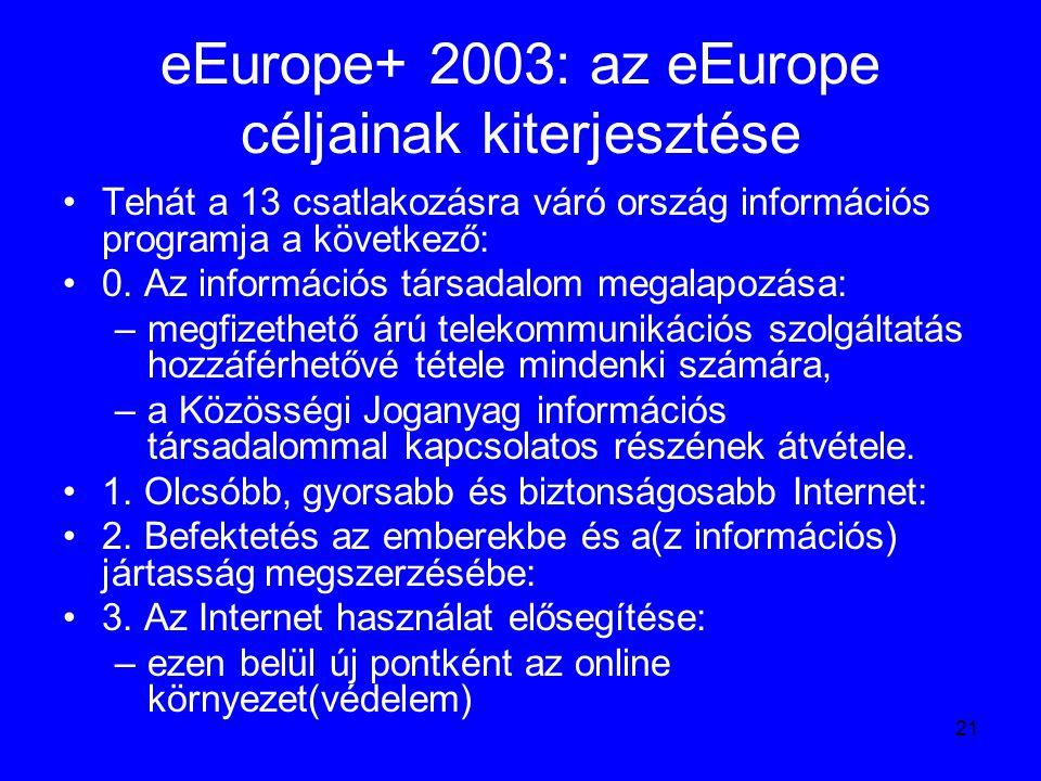 21 eEurope+ 2003: az eEurope céljainak kiterjesztése Tehát a 13 csatlakozásra váró ország információs programja a következő: 0. Az információs társada