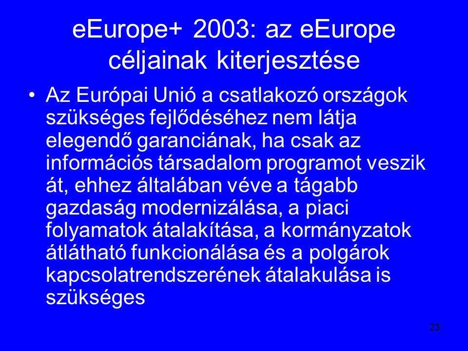 23 eEurope+ 2003: az eEurope céljainak kiterjesztése Az Európai Unió a csatlakozó országok szükséges fejlődéséhez nem látja elegendő garanciának, ha c