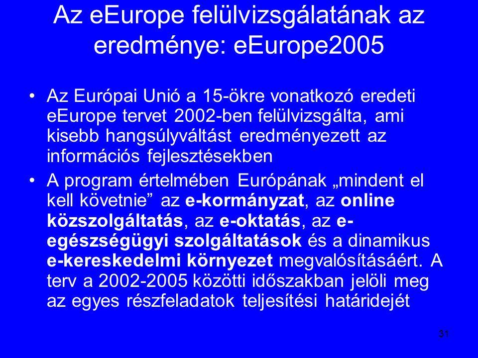 31 Az eEurope felülvizsgálatának az eredménye: eEurope2005 Az Európai Unió a 15-ökre vonatkozó eredeti eEurope tervet 2002-ben felülvizsgálta, ami kis