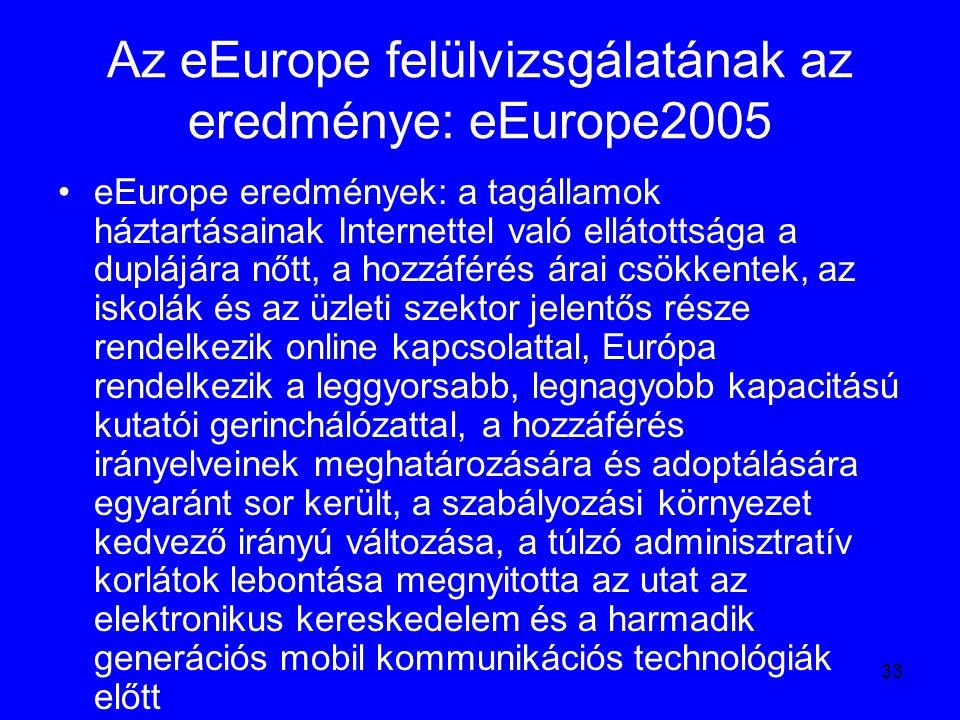 33 Az eEurope felülvizsgálatának az eredménye: eEurope2005 eEurope eredmények: a tagállamok háztartásainak Internettel való ellátottsága a duplájára n