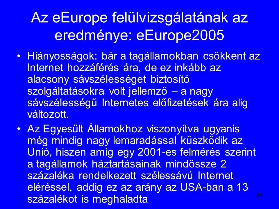 34 Az eEurope felülvizsgálatának az eredménye: eEurope2005 Hiányosságok: bár a tagállamokban csökkent az Internet hozzáférés ára, de ez inkább az alac
