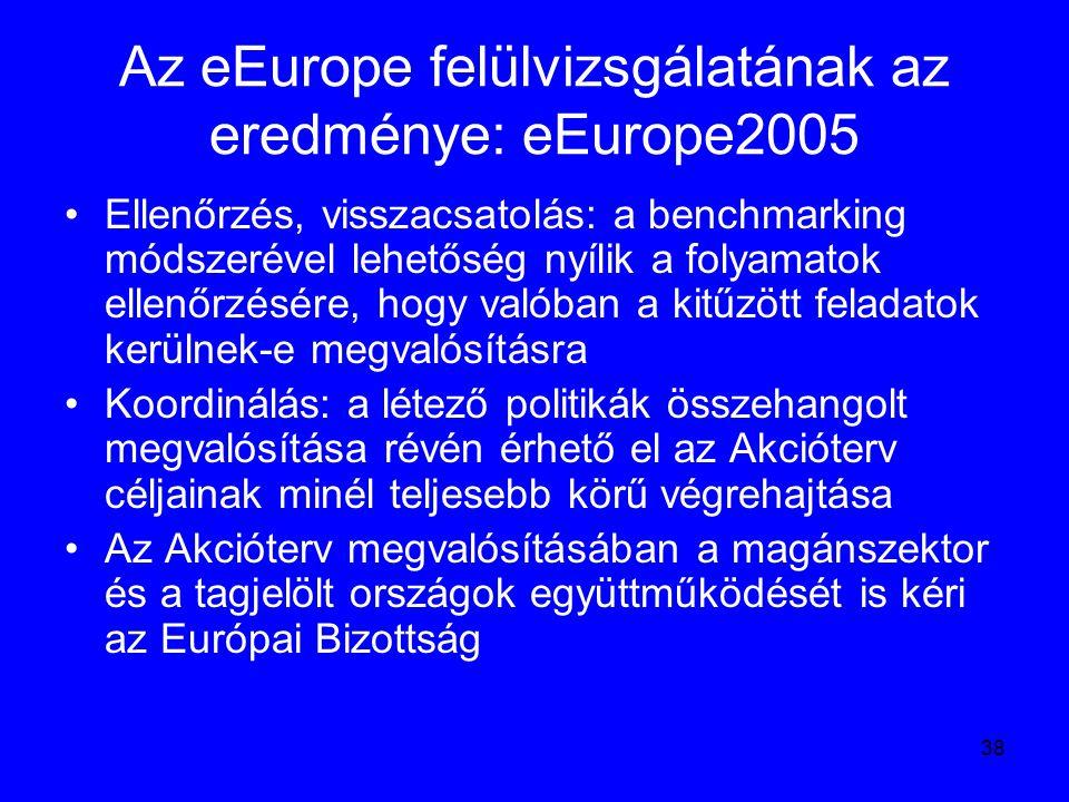 38 Az eEurope felülvizsgálatának az eredménye: eEurope2005 Ellenőrzés, visszacsatolás: a benchmarking módszerével lehetőség nyílik a folyamatok ellenő
