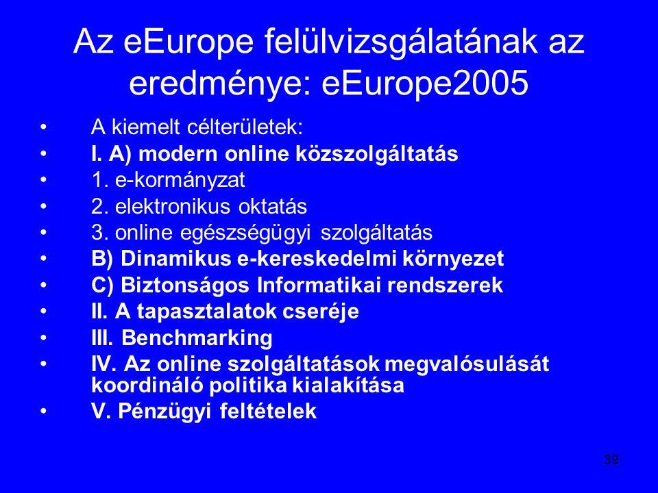 39 Az eEurope felülvizsgálatának az eredménye: eEurope2005 A kiemelt célterületek: I. A) modern online közszolgáltatás 1. e-kormányzat 2. elektronikus