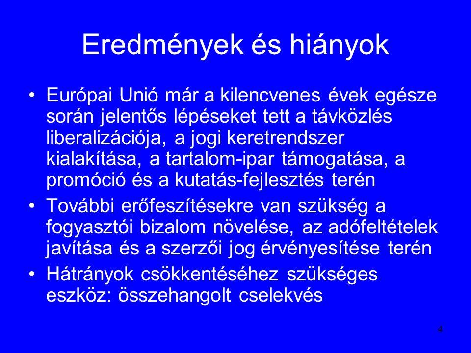 5 Az információs társadalom társadalmasítása: eEurope program Az 1999-ben megújuló információs politika nagyban új személyekhez is köthető Az erős német befolyás az információs politikai célok meghatározására gyengült 1999-2005 között a Bizottság elnöke Romano Prodi lett Az információs társadalom ügyekben illetékes igazgatóság élére a finn Erkki Liikanen került