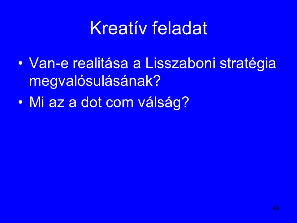 40 Kreatív feladat Van-e realitása a Lisszaboni stratégia megvalósulásának? Mi az a dot com válság?