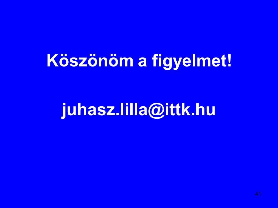 41 Köszönöm a figyelmet! juhasz.lilla@ittk.hu