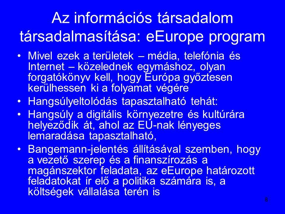 19 eEurope+ 2003: az eEurope céljainak kiterjesztése A 2001 június végén megjelent dokumentum mindössze 32 oldalas – melléklettel együtt A kidolgozásban résztvevő országok: Ciprus, Málta, Törökország, Bulgária, Csehország, Észtország, Lengyelország, Lettország, Litvánia, Magyarország, Szlovákia, Szlovénia, Románia A program végrehajtásához az Európai Unió közösségi anyagi forrásokkal is hozzájárul