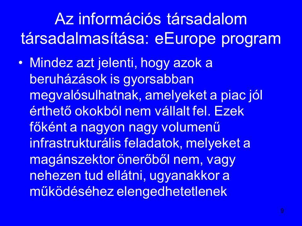 10 Az információs társadalom társadalmasítása: eEurope akcióterv Az előbb részletezett program bázisán kidolgoztak egy Akciótervet, amely pontos határidők megadásával rögzíti, hogy melyik területen milyen akciókat terveznek.