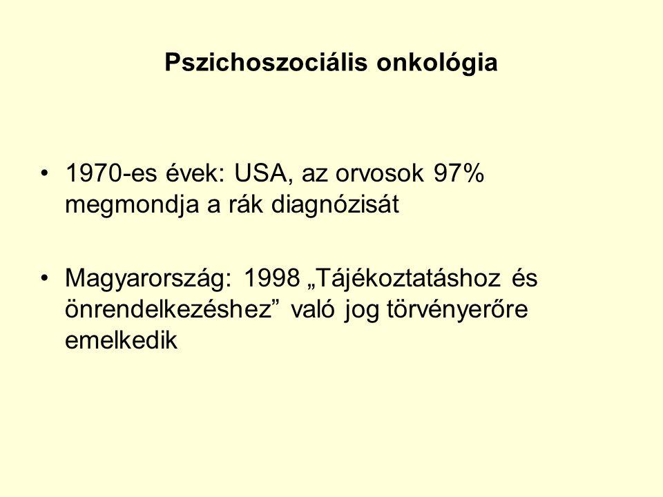 """Pszichoszociális onkológia 1970-es évek: USA, az orvosok 97% megmondja a rák diagnózisát Magyarország: 1998 """"Tájékoztatáshoz és önrendelkezéshez"""" való"""