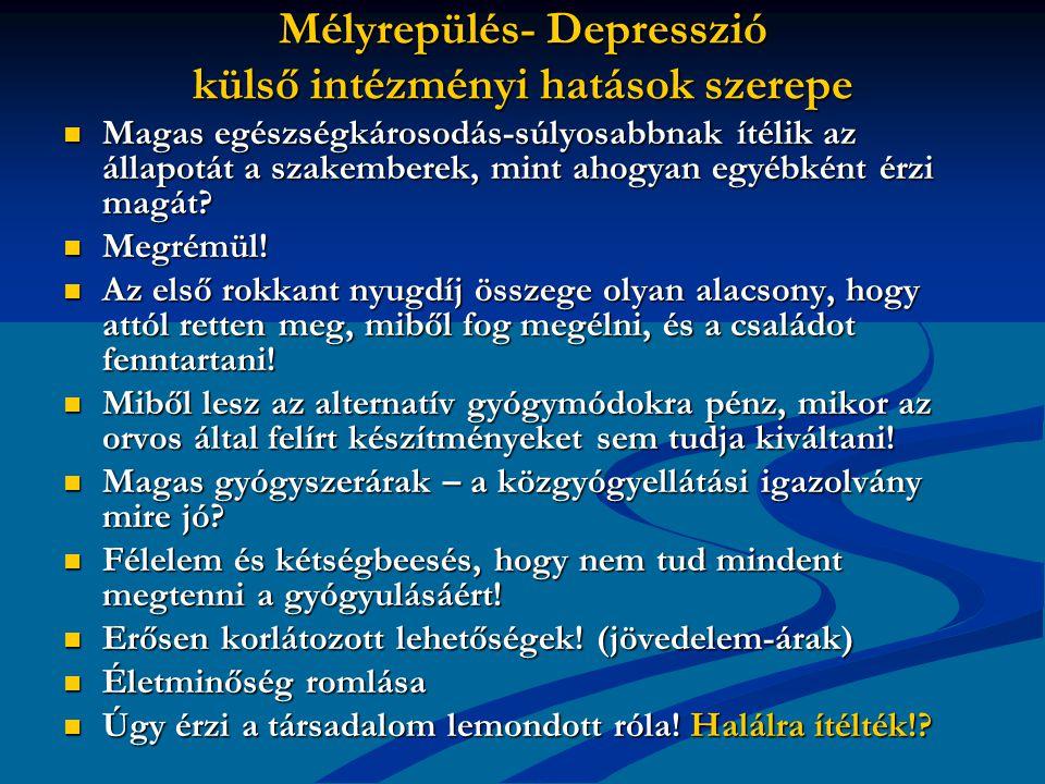 Mélyrepülés- Depresszió külső intézményi hatások szerepe Magas egészségkárosodás-súlyosabbnak ítélik az állapotát a szakemberek, mint ahogyan egyébként érzi magát.