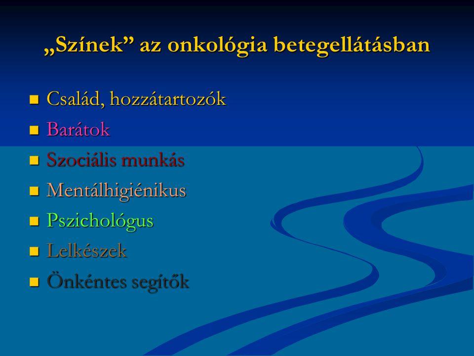 """""""Színek az onkológia betegellátásban Család, hozzátartozók Család, hozzátartozók Barátok Barátok Szociális munkás Szociális munkás Mentálhigiénikus Mentálhigiénikus Pszichológus Pszichológus Lelkészek Lelkészek Önkéntes segítők Önkéntes segítők"""