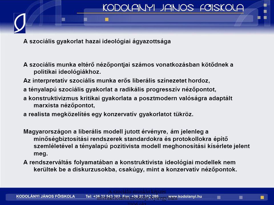 A szociális munkás képzés interakcionista modellje Nyíregyháza 2006 okt. A szociális gyakorlat hazai ideológiai ágyazottsága A szociális munka eltérő