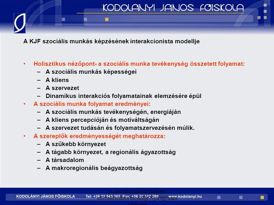 A szociális munkás képzés interakcionista modellje Nyíregyháza 2006 okt. A KJF szociális munkás képzésének interakcionista modellje Holisztikus nézőpo