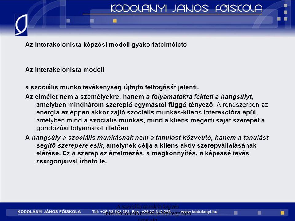 A szociális munkás képzés interakcionista modellje Nyíregyháza 2006 okt. Az interakcionista képzési modell gyakorlatelmélete Az interakcionista modell