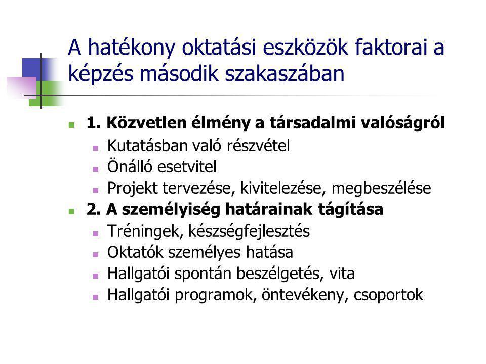 A hatékony oktatási eszközök faktorai a képzés második szakaszában 1.