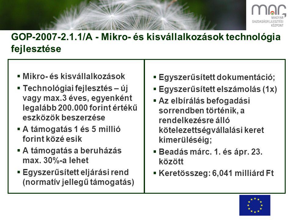 GOP-2007-2.1.1/A - Mikro- és kisvállalkozások technológia fejlesztése  Mikro- és kisvállalkozások  Technológiai fejlesztés – új vagy max.3 éves, egyenként legalább 200.000 forint értékű eszközök beszerzése  A támogatás 1 és 5 millió forint közé esik  A támogatás a beruházás max.