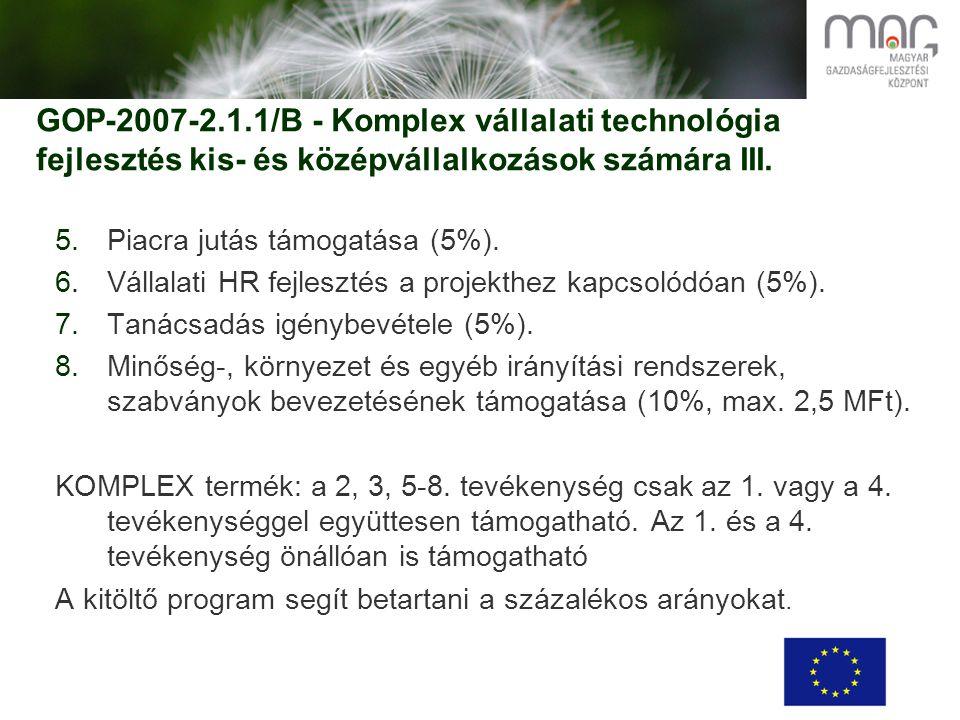 GOP-2007-2.1.1/B - Komplex vállalati technológia fejlesztés kis- és középvállalkozások számára III.