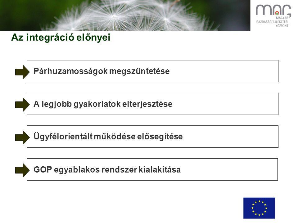 Az integráció előnyei Párhuzamosságok megszüntetése A legjobb gyakorlatok elterjesztése Ügyfélorientált működése elősegítése GOP egyablakos rendszer kialakítása