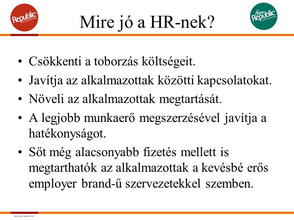 Copyright by Republic 2007 Mire jó a HR-nek? Csökkenti a toborzás költségeit. Javítja az alkalmazottak közötti kapcsolatokat. Növeli az alkalmazottak