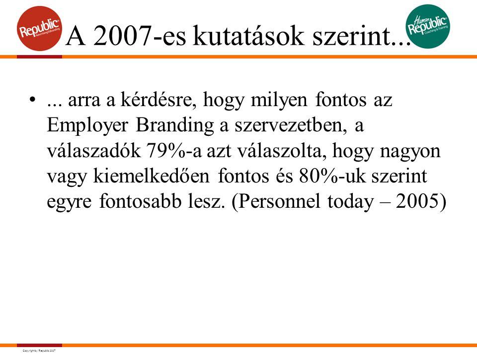 Copyright by Republic 2007 A 2007-es kutatások szerint...... arra a kérdésre, hogy milyen fontos az Employer Branding a szervezetben, a válaszadók 79%