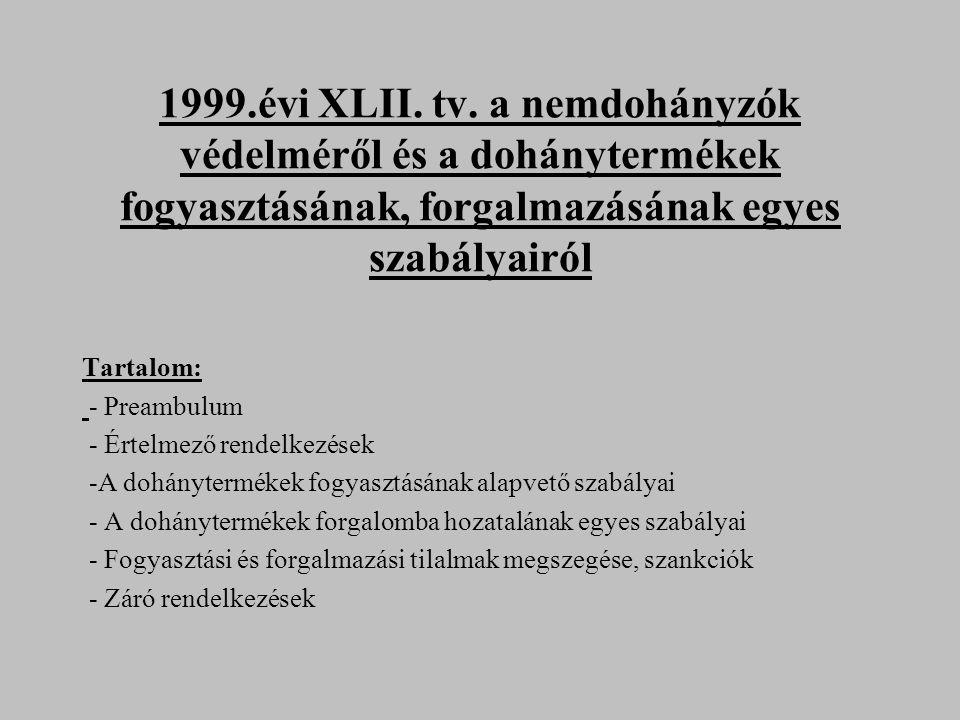 1999.évi XLII. tv. a nemdohányzók védelméről és a dohánytermékek fogyasztásának, forgalmazásának egyes szabályairól Tartalom: - Preambulum - Értelmező