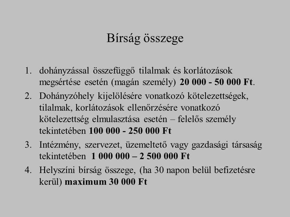 Bírság összege 1.dohányzással összefüggő tilalmak és korlátozások megsértése esetén (magán személy) 20 000 - 50 000 Ft. 2.Dohányzóhely kijelölésére vo