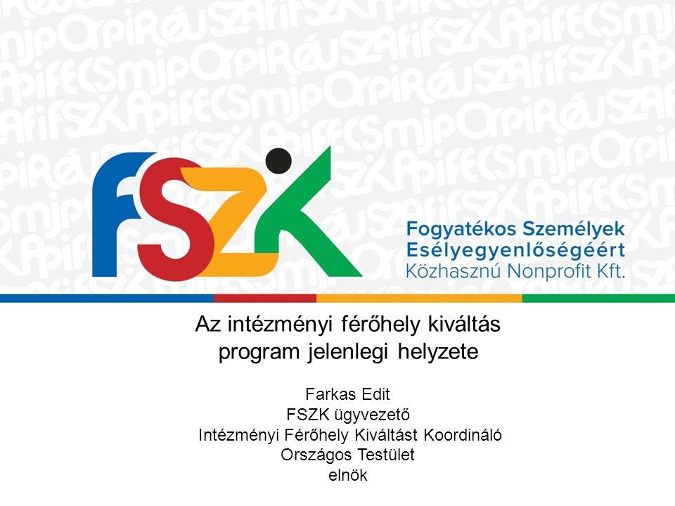 Az intézményi férőhely kiváltás program jelenlegi helyzete Farkas Edit FSZK ügyvezető Intézményi Férőhely Kiváltást Koordináló Országos Testület elnök