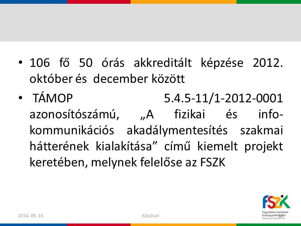 """106 fő 50 órás akkreditált képzése 2012. október és december között TÁMOP 5.4.5-11/1-2012-0001 azonosítószámú, """"A fizikai és info- kommunikációs akadá"""