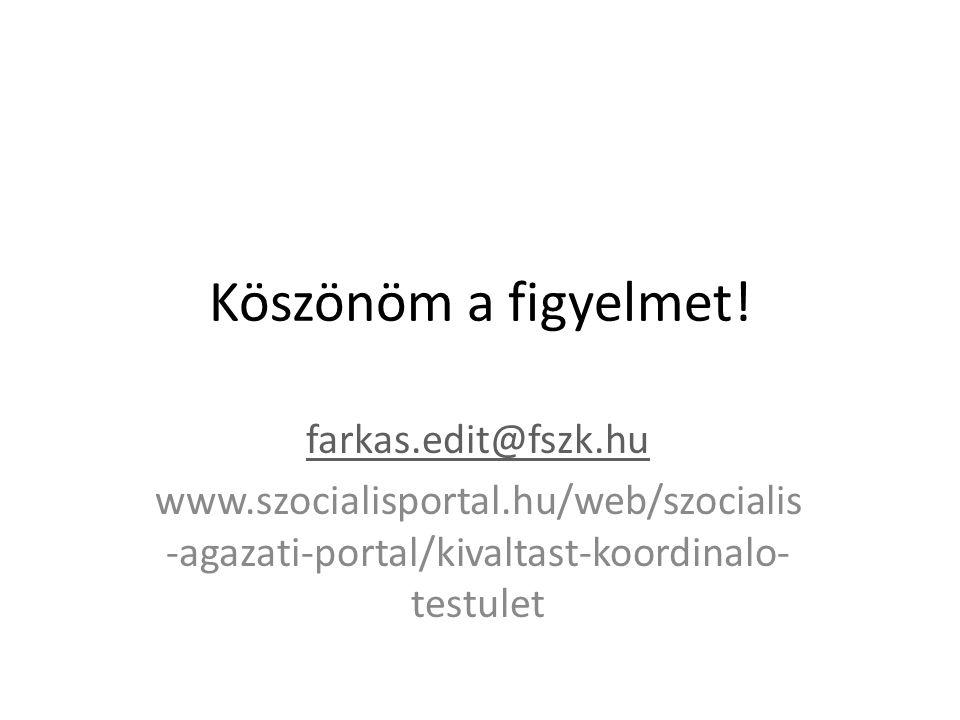 Köszönöm a figyelmet! farkas.edit@fszk.hu www.szocialisportal.hu/web/szocialis -agazati-portal/kivaltast-koordinalo- testulet